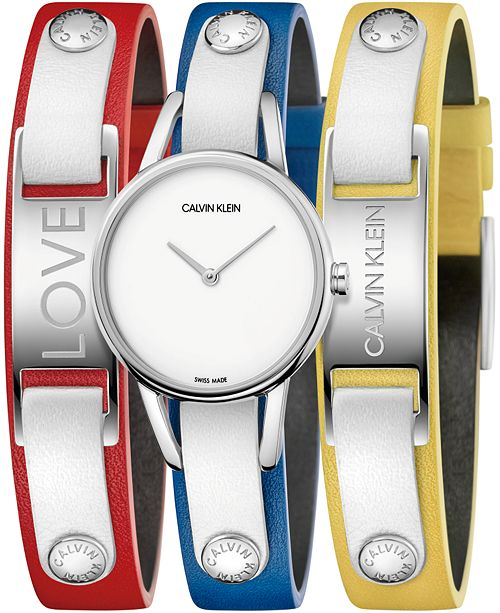 Calvin Klein Women's #mycalvins Interchangeable Multi-Color Leather Snap Strap Watch 32mm Gift Set