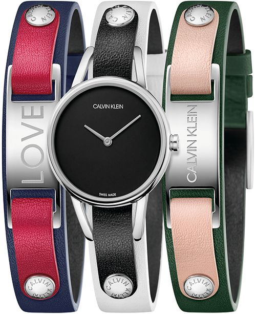 Calvin Klein Women's #mycalvins Interchangeable Multi-Color Leather Snap Strap Watch 32mm Gift Set