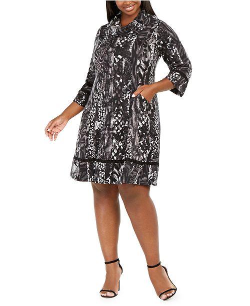 Robbie Bee Plus Size Cowlneck Printed Sweater Dress