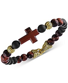 Red Tiger's Eye & Black Agate Beaded Cross Bracelet in 14k Gold Over Sterling Silver