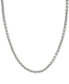 "Elongated Wheat Link 22"" Chain Necklace in Sterling Silver"