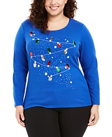 Plus Size LS Cotton Sequined Holiday Top, Created For Macy's