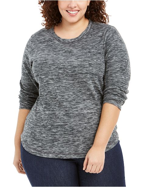 Karen Scott Plus Size Marled Microfleece Top, Created for Macy's