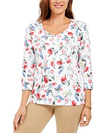 Floral-Print V-Neck Top, Created for Macy's