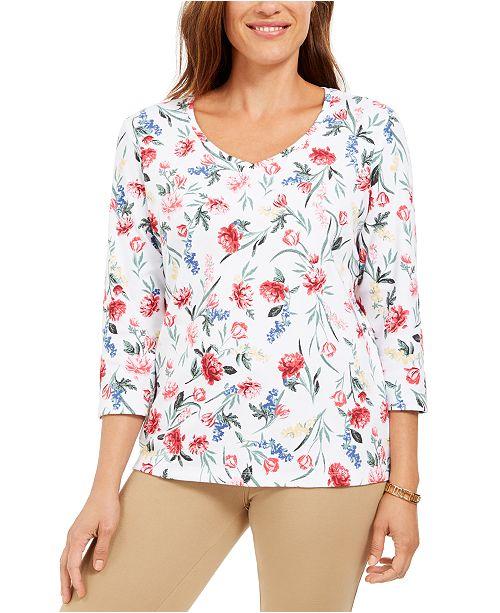 Karen Scott Floral-Print V-Neck Top, Created For Macy's