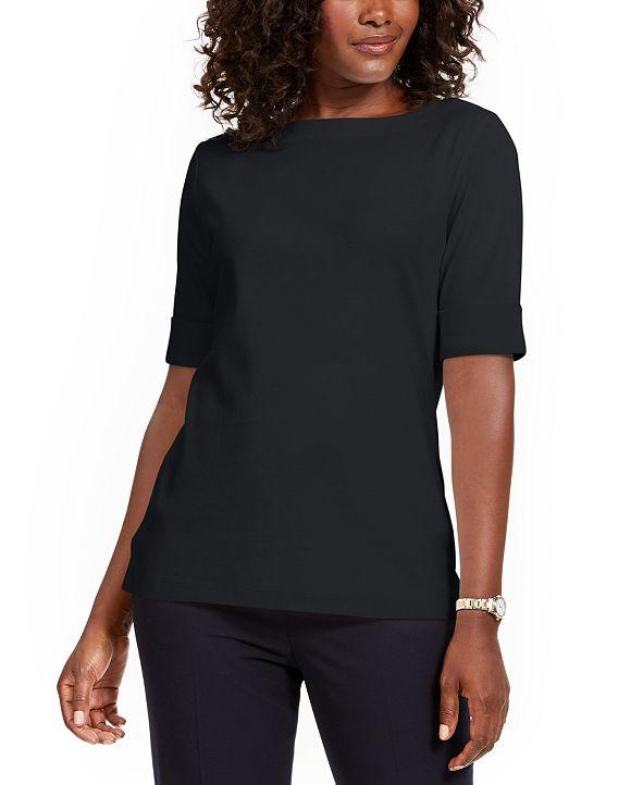 Karen Scott Petite Cotton Elbow-Sleeve T-Shirt, Created for Macy's
