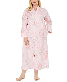 Plus Size Floral-Print Quilted Long Zipper Robe