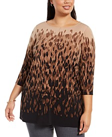 Plus Size Printed Tunic Sweater, Created For Macy's