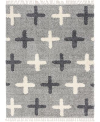 Lochcort Shag Loc7 Light Gray 9' x 12' Area Rug