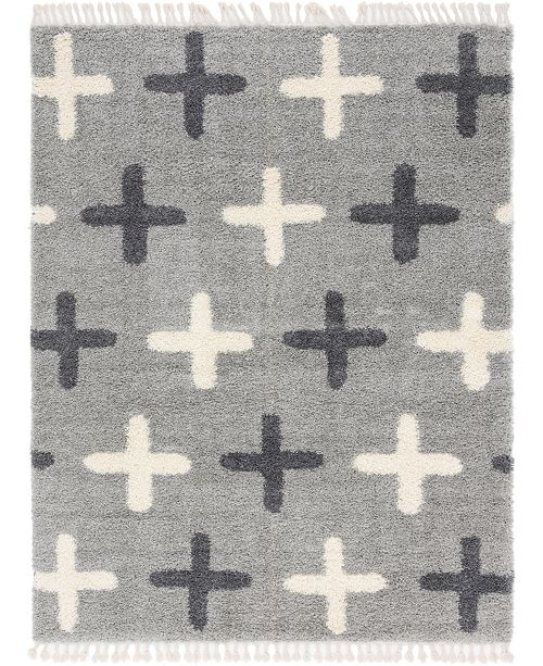 Bridgeport Home Lochcort Shag Loc7 Light Gray Area Rug Collection