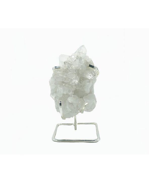 Nature's Decorations - Quartz Cluster on Silver-tone Wire Stand