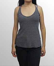 Womens Rayon Blend Stripe Cross Strap Cami Top