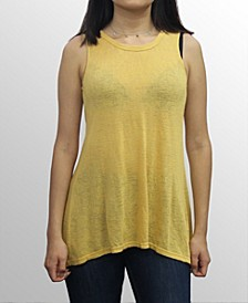 Womens Rayon Slub Jersey Split Button Back Tank