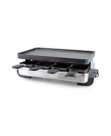 8 Person Stelvio Raclette Party Grill with Reversible Grill Plate