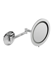 Chrome Wall Mount Round 5x Magnifying Cosmetic Mirror with Light