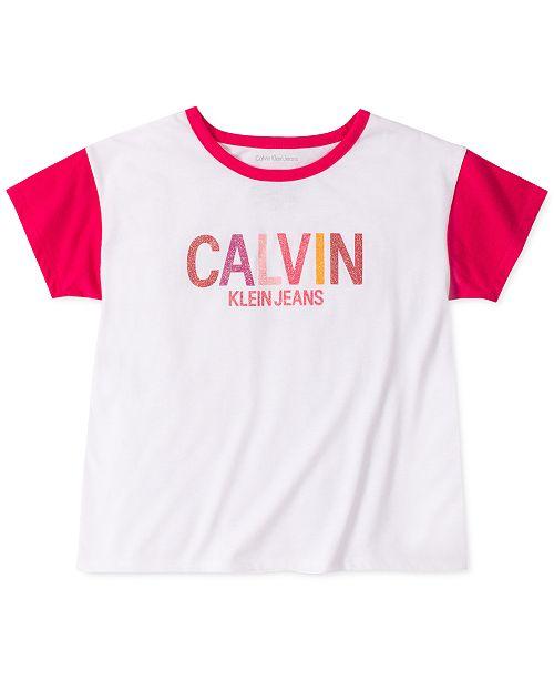 Calvin Klein Big Girls Glitter Logo T-Shirt