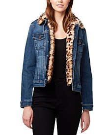 Faux-Fur-Trim Denim Jacket