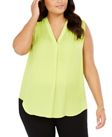 Vince Camuto Plus Size Inverted-Pleat Top