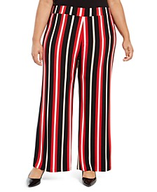 Plus Size Striped Palazzo Pants, Created For Macy's