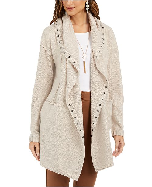 Style & Co Petite Hooded Studded Cardigan, Created For