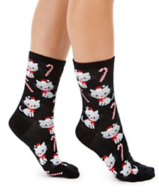 Charter Club Women's Candy Cane Cats Crew Socks, Created For Macy's