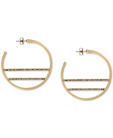 Medium Gold-Tone Hematite-Pavé Bar Hoop Earrings 1-2/3""