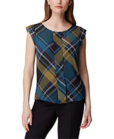 Plaid Pleat-Front Top