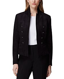 Faux-Suede Double-Breasted Blazer