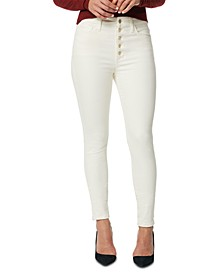 Button-Fly High-Rise Skinny Jeans