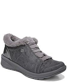Golden Fur Trim Washable Slip On Sneakers