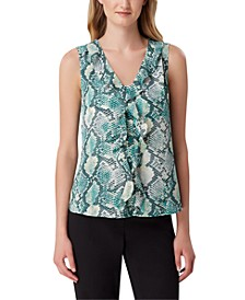 Snake-Print Ruffle-Front Top