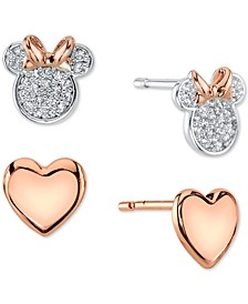 Minnie Mouse 2-Pc. Set Stud Earrings in Two-Tone