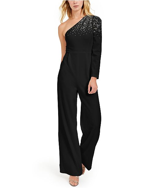 Calvin Klein One-Shoulder Bling Jumpsuit