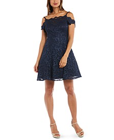 Juniors' Cold-Shoulder Lace Fit & Flare Dress