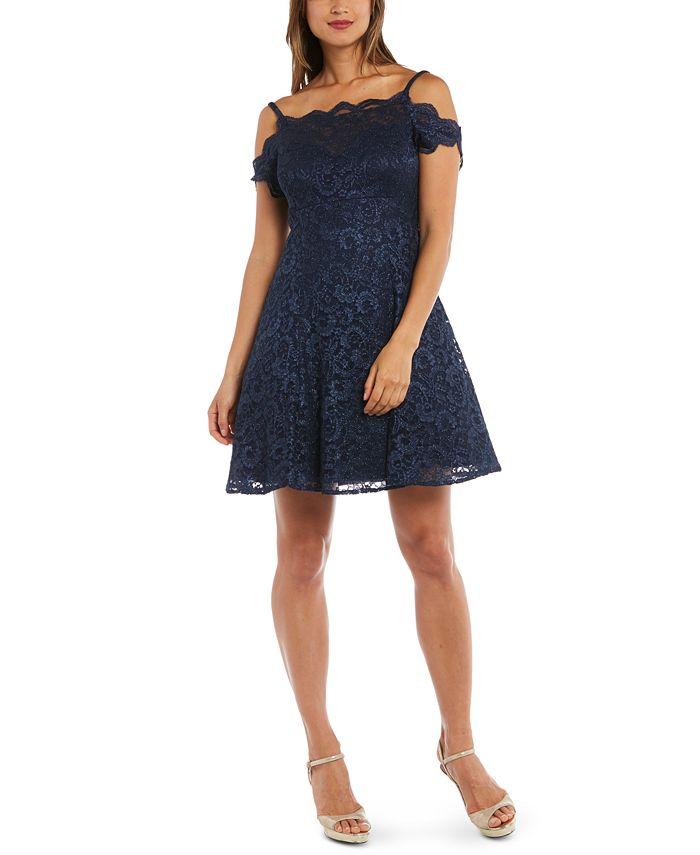 Morgan & Company - Juniors' Cold-Shoulder Lace Fit & Flare Dress