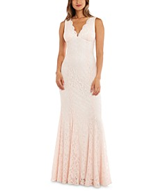 Juniors' Allover-Lace Gown