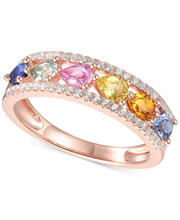 Macy's - Lab-Created Multi-Sapphire Pear-Cut Ring (1-1/2 ct. t.w.) in 14k Rose Gold-Plated Sterling Silver