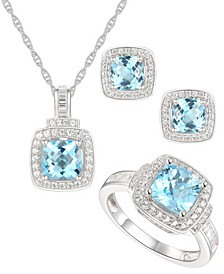 3-Pc. Set Blue Topaz (4-1/2 ct. t.w.) & White Topaz (1 ct. t.w.) Pendant Necklace, Ring & Stud Earrings in Sterling Silver