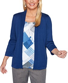 Sapphire Skies Diamond-Print Layered-Look Sweater