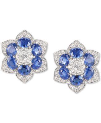 Sparkling Blue Sapphire Flower Stud Earring Women Jewelry 14K White Gold Plated