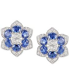 Sapphire (2-1/2 ct. t.w.) & Diamond (1/2 ct. t.w.) Flower Stud Earrings in 14k White Gold