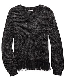 Big Girls Volume-Sleeve Layered-Look Sweater, Created For Macy's