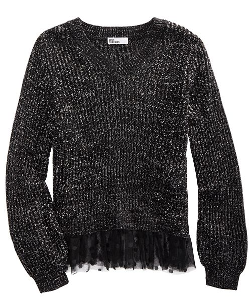 Epic Threads Big Girls Volume-Sleeve Layered-Look Sweater, Created For Macy's