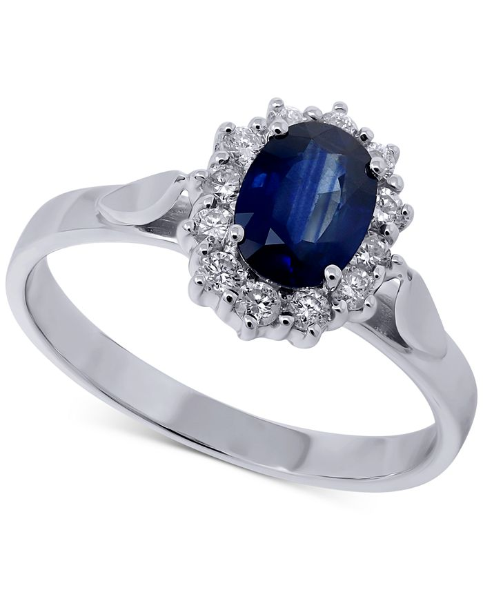 Macy's - Sapphire (1 ct. t.w.) & Diamond (1/4 ct. t.w.) Oval Ring in 14k White Gold