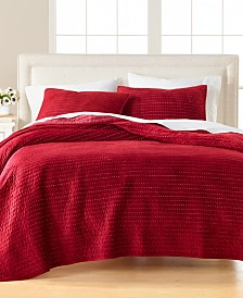 Martha Stewart Collection Velvet Channel Stitch Quilt Collection, Created For Macy's