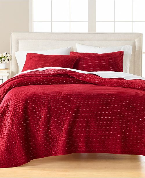 Martha Stewart Collection CLOSEOUT! Velvet Channel Stitch Twin Quilt, Created for Macy's