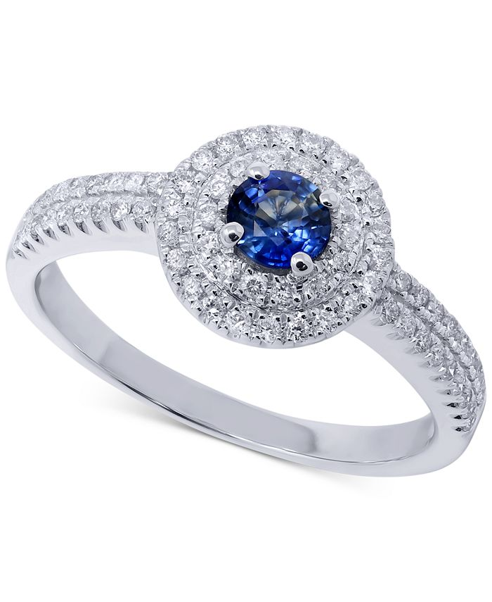 Macy's - Sapphire (1/3 ct. t.w.) & Diamond (1/4 ct. t.w.) Ring in 14k White Gold