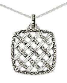 "Marcasite Square Weave 18"" Pendant Necklace in Sterling Silver"