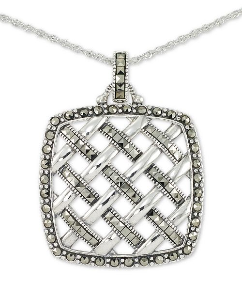 """Macy's Marcasite Square Weave 18"""" Pendant Necklace in Sterling Silver"""