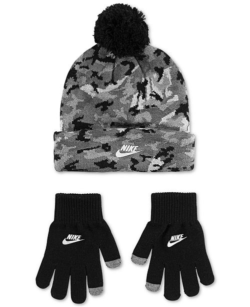 Nike Big Boys 2-Pc. Futura Camo-Print Beanie & Gloves Set
